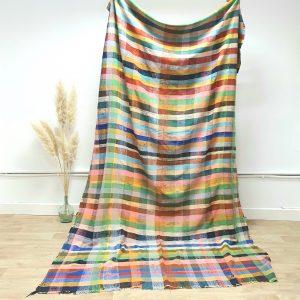 Couverture berbere Marocaine multicolore à carreaux en coton et laine