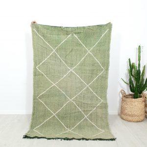 Tapis berbere Marocain vert 100% laine réalisé à la main