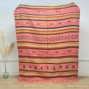 Vrai tapis berbere Kilim ancien fait main au Maroc 100% laine