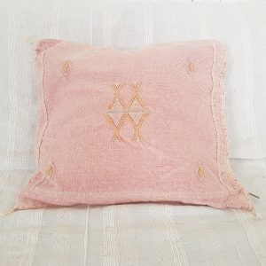 Moroccan pink silk pillow