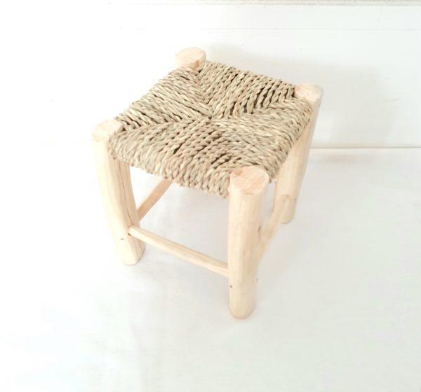 Tabouret traditionnel marocain en bois assise en paille
