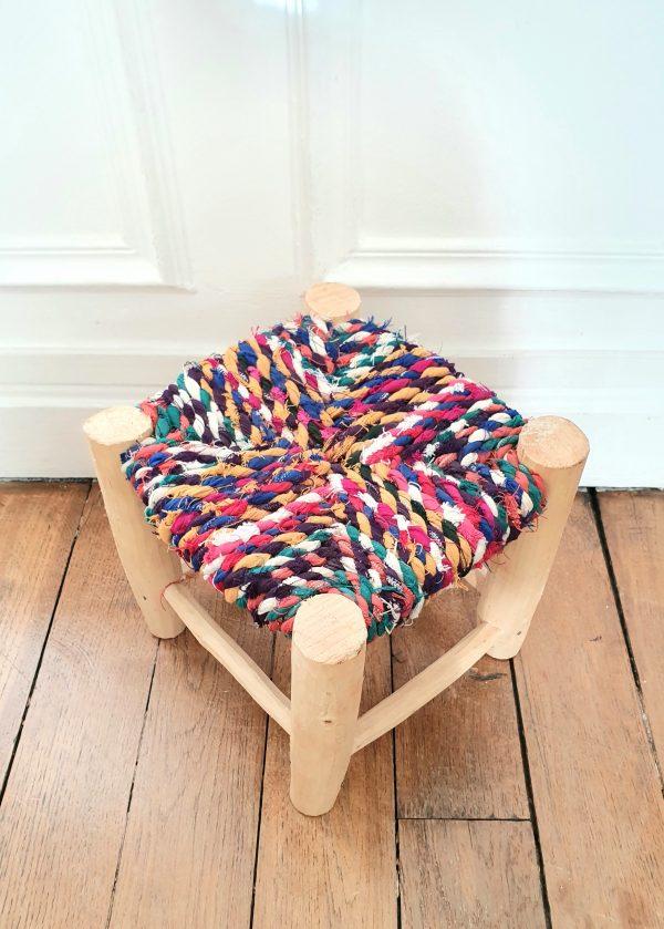 tabouret coloré berbère fait main