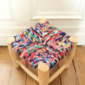 tabouret berbere en bois et tissu