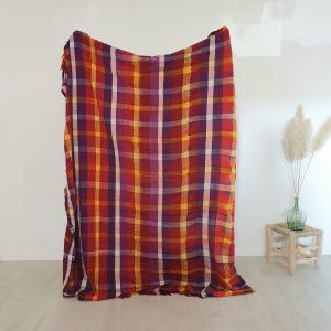 Couverture berbere Marocaine à carreaux en laine et coton faite main