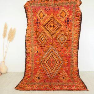 Tapis berbère Marocain ancien en pure laine aux tons rouge et ocre
