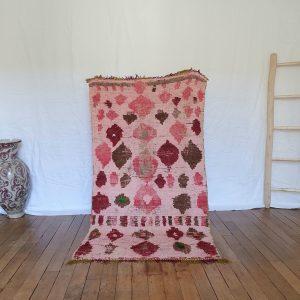 tapis berbère Marocain rose ancien en laine