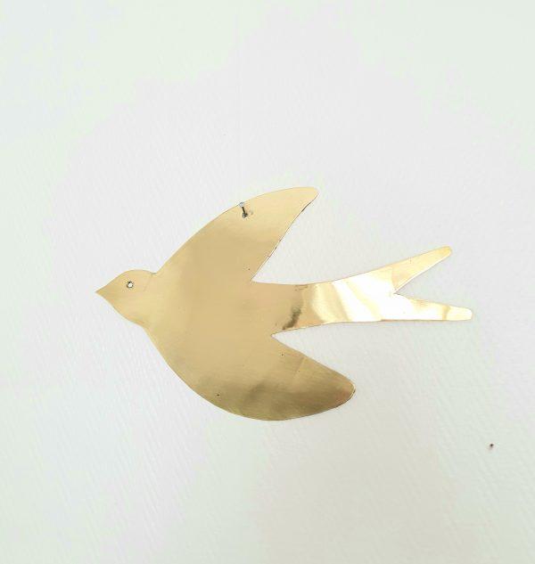 Oiseau en métal doré fait main