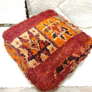 Pour marocain en pure laine fait main à partir d'un tapis vintage