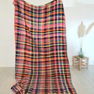 couverture berbere Marocaine traditionnelle ancienne tissée main en laine et coton