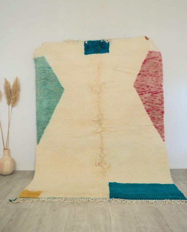 Tapis Marocain fait main en pure laine de qualité supérieure écru et blocs de couleurs